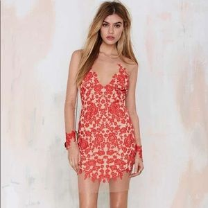 NWT For Love And Lemons Sexy Red Lace Luau Dress